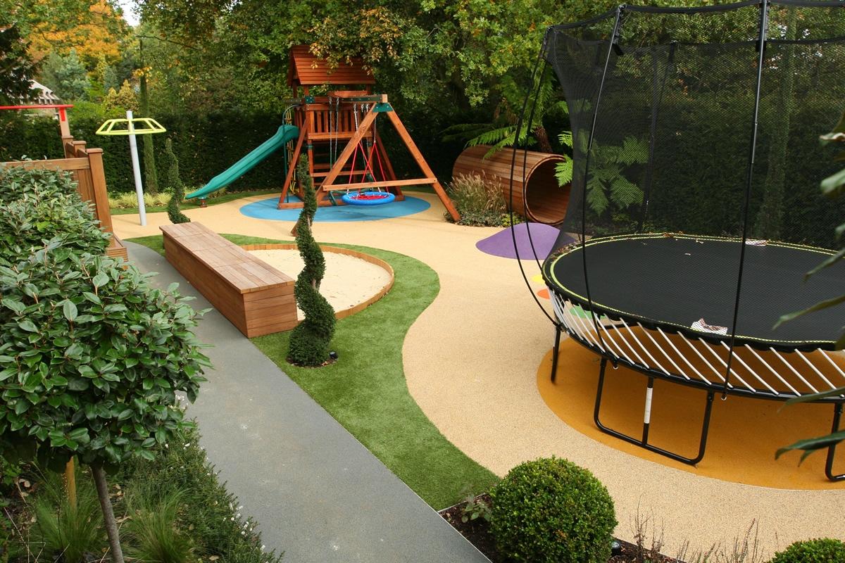 Ландшафтный дизайн на даче с детской площадкой